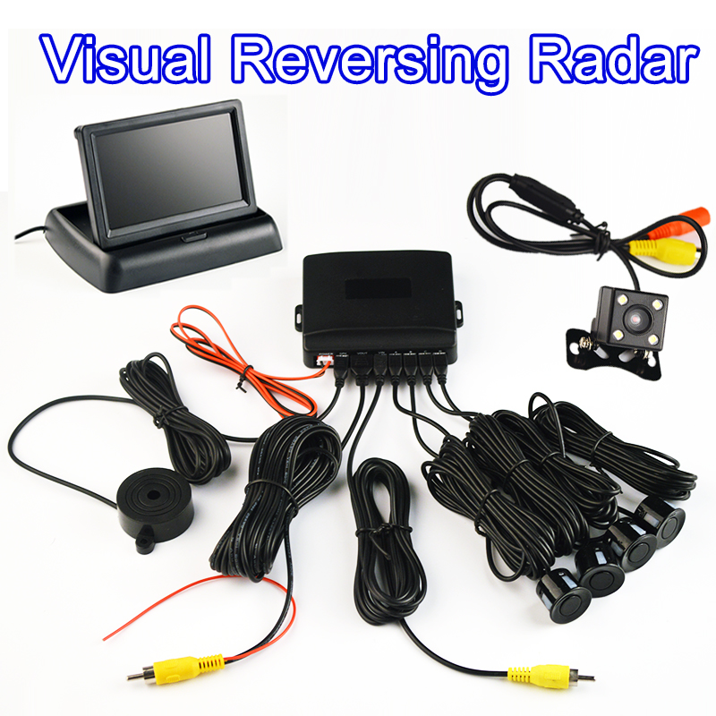 LCD Monitor + Rearview Camera Car Parking Sensor Kit 4 Sensors Buzzer 22mm Visual Reverse Radar Sound Alert Auto Assistance 7 lcd rearview mirror rearview camera parking sensor radar kit dc 12v