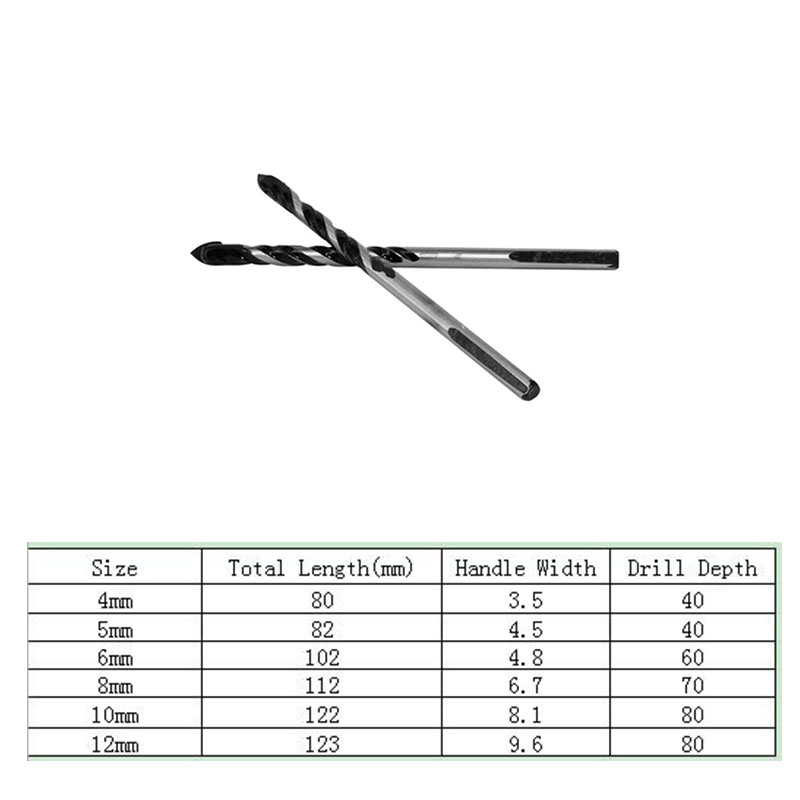 4mm/5mm/6mm/8mm/10mm/12mm Bits Tile Drill Triangle Ceramic Tile Cement Tungsten Carbide Drill Accessories Supply