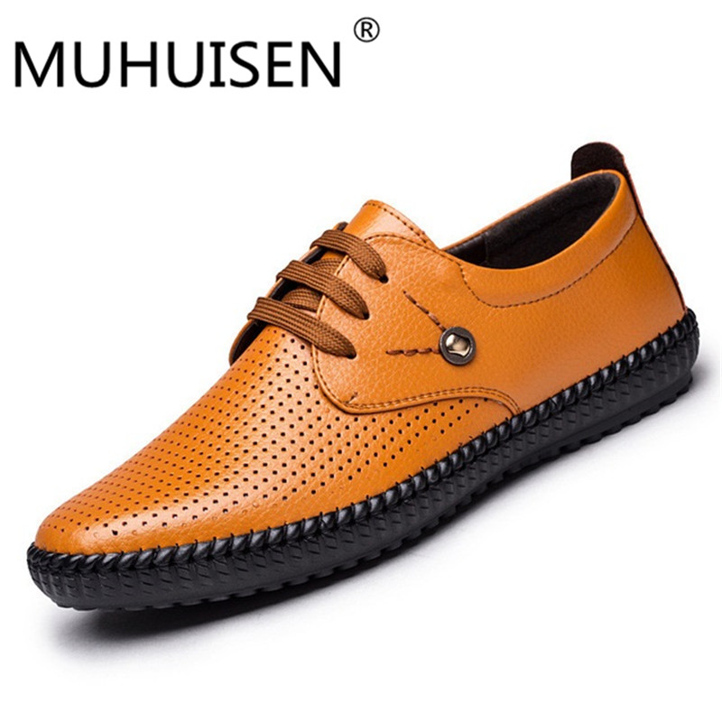 MUHUISEN fashion men genuine leather shoes lace up anti slip heels casual footwear for male size 39-44 oxfords men casual shoes new 2017 men s genuine leather casual shoes korean fashion style breathable male shoes men spring autumn slip on low top loafers