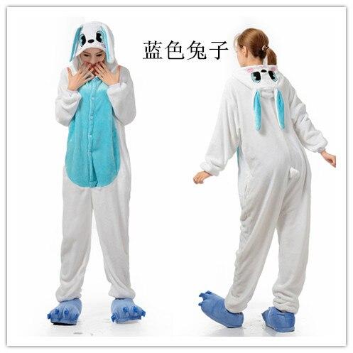 Pánské dámy kreslený bílý modrý králík dospělé zvířecí onesie Onsie pyžamo pyžama kombinézy C353 S / M / L / XL / XL