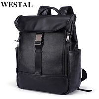 WESTAL Genuine Leather Backpack Male Business bag anti thief schoolbag men's casual daypacks latop backpacks executive leather