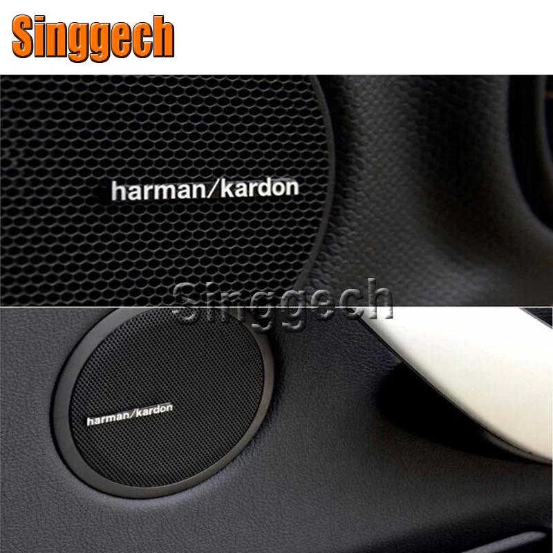4/10pcs Car Sound Sticker Harman/kardon Styling For Porsche 911 Cayenne Macan For Jaguar XE XF XJ For Infiniti q50 FX35 G35 G37