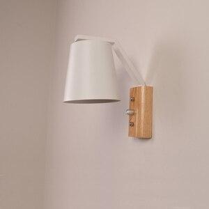 Image 4 - Nordic kreatywny przy łóżku lampa z przełącznikiem osobowości drewna + kutego żelaza kinkiet sypialnia badania Macaron E27 żarówka LED kinkiety
