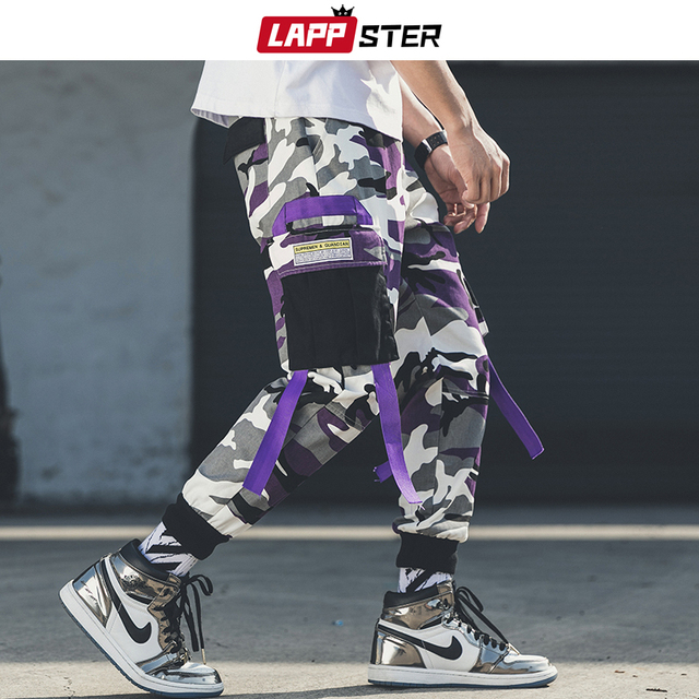 LAPPSTER Men Streetwear Camouflage Cargo Pants 2020 Overalls Mens Hip Hop Joggers Pants Korean Style Patchwork Belt Sweat Pants