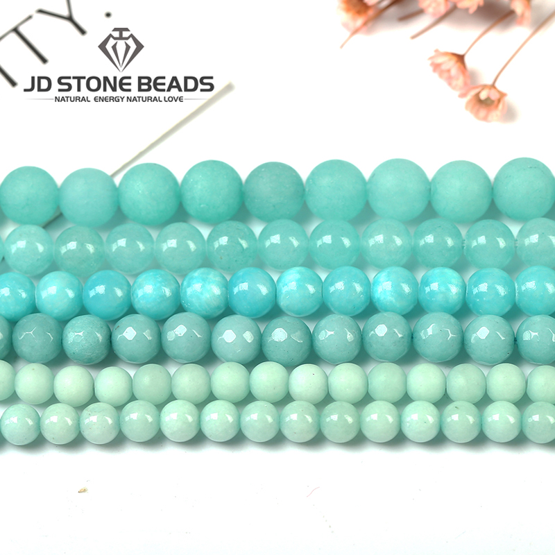 Amazonite Beads Blue Chalcedony Loose Beads 4 6 8 10 12mm Pick Size Fashion Gemstone For Jewelry Making Hot Sale Free Shipping