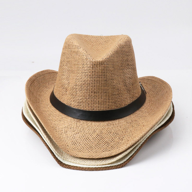 e693fcd3 2018 Wholesale Cowboy Hat Outdoor Beach Sun Hat Big Straw Hats Caps For Men  and Women