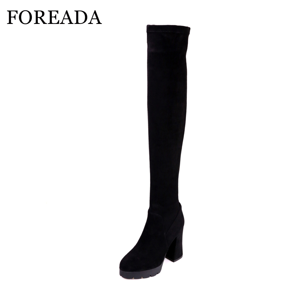 FOREADA Genuine Leather Over the Knee Boots Women Winter Suede Thigh High Boots Platform High Heel Slim Boots 2018 Spring Shoes цена