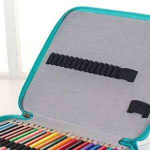 Image 5 - 124 Houders Grote Capaciteit Etui voor Art Pennen Aquarel Gekleurde PU Leer Potloden Zak Doos School Kantoorbenodigdheden