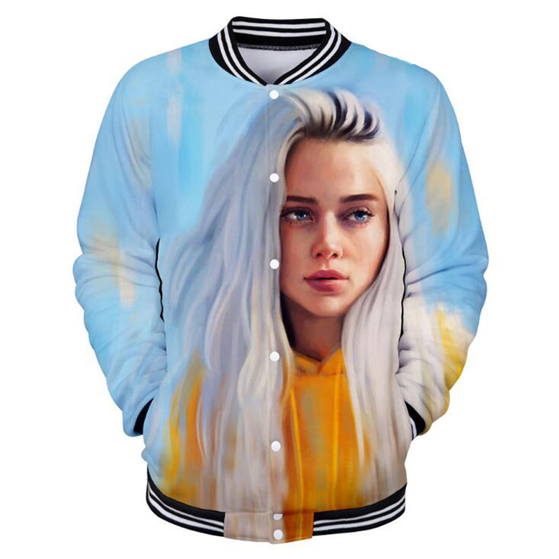 Billie Eilish 3D Printed Baseball Jackets Men/Women Hoodie Sweatshirt Winter Fashion Stand Collar Funny Hiphop Baseball Uniform