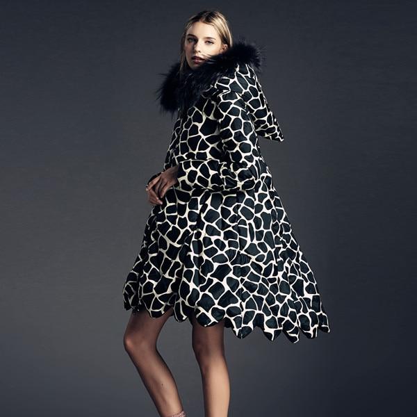 European Loose Warm Winter Jacket Women 2017 Cloak A-line Loose Raccoon Fur Hooded Leopard Printed Long Womens Down Jackets
