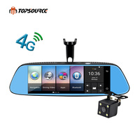TOPSOURCE 8 4G Car DVR Mirror GPS Android 5 1 Bluetooth Dual Lens Rearview Camera Video