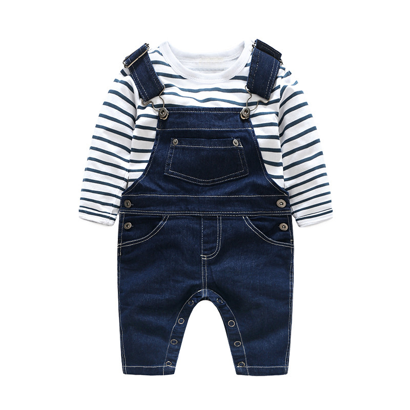 HOT Children striped  Baby  Boys clothes set  kids Clothing suit t shirt+Pants  2Pcsset baby boys Denim overalls70-100 (15)