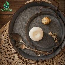 Европейская ретро круглая металлическая тарелка с ручками, Винтажный французский поднос для хлеба, тарелки в стиле ретро, украшение для дома, стол для фотосъемки