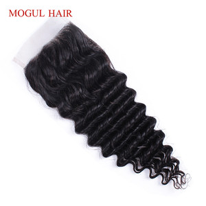 Image 3 - MOGUL HAIR Deep Wave 4*4 Lace Closure Natural Color 2, 4 Dark Brown 1B 27 Ombre Honey Blonde Indian Remy Human Hair
