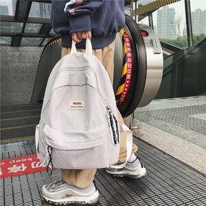 Image 5 - DCIMOR חדש מוצק צבע נשים תרמיל רטרו אופנה עמיד למים ניילון Bagpack עבור בני נוער מוצ ילאס תרמילי נסיעות