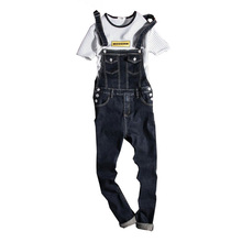 New 2019 Fashion Vintage Design Pocket Jeans Denim Overalls Men Casual Wash Skinny Bib Overalls Jeans Male Blue Jumpsuit Jean цена