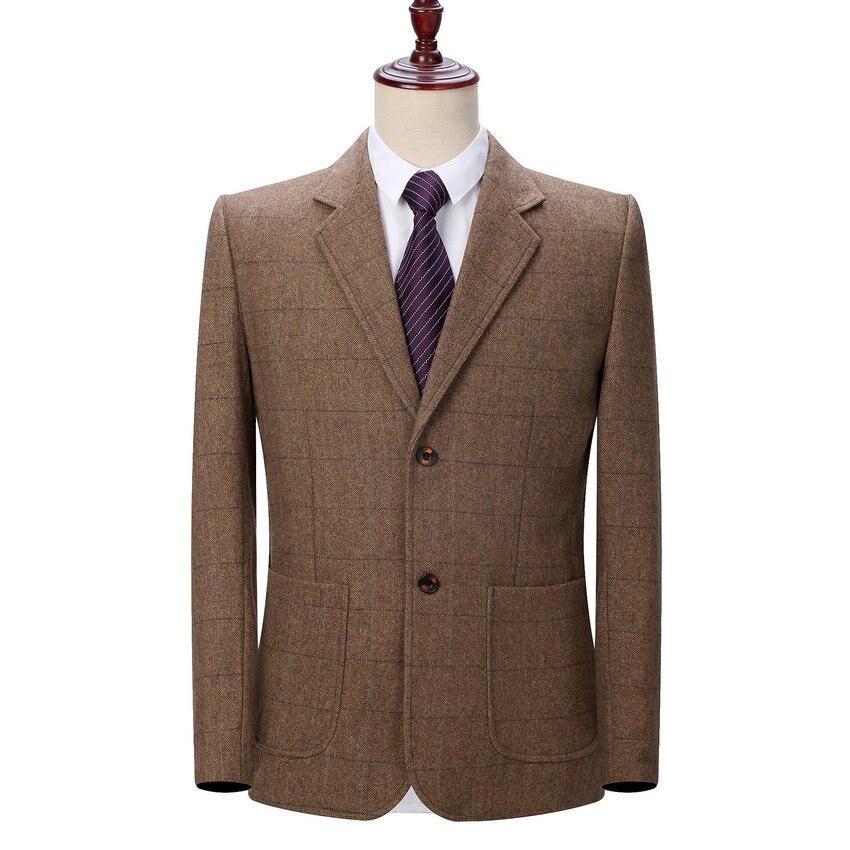 WAEOLSA homme Blazer basique laine veste costume hommes Plaid laine Blazers homme Slim Fit Blazers printemps automne veste costumes homme tenues