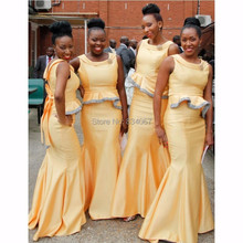 African Bridesmaids Dresses 2017 Unique Design Satin Mermaid Grecian Style Formal Gowns Maid of Honor Dress for Weddings