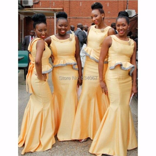 Afrikanische Brautjungfern Kleider 2017 Einzigartiges Design Satin ...