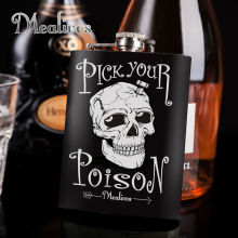 Mealivos fashion skull 8 oz 304 Stainless Steel Hip Flask Alcohol Liquor Whiskey vodka Bottle gifts wine pot drinkware