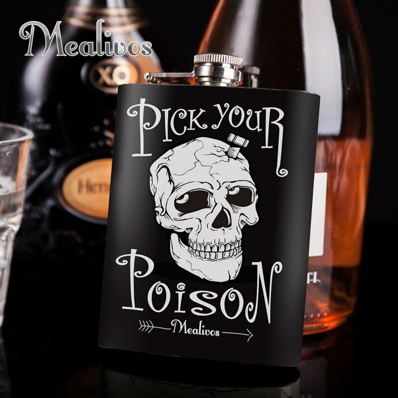 Mealivos mode crâne 8 oz 304 En Acier Inoxydable Hip Flask Alcool Alcools Whiskey vodka Bouteille cadeaux vin pot verres