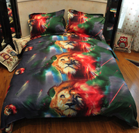 3D Bedding Set Animals Printing Duvet Cover Set 4pcs Queen Quilt Cover Bedlinen wolf tiger leopard Pegasus Black Swan lion cat