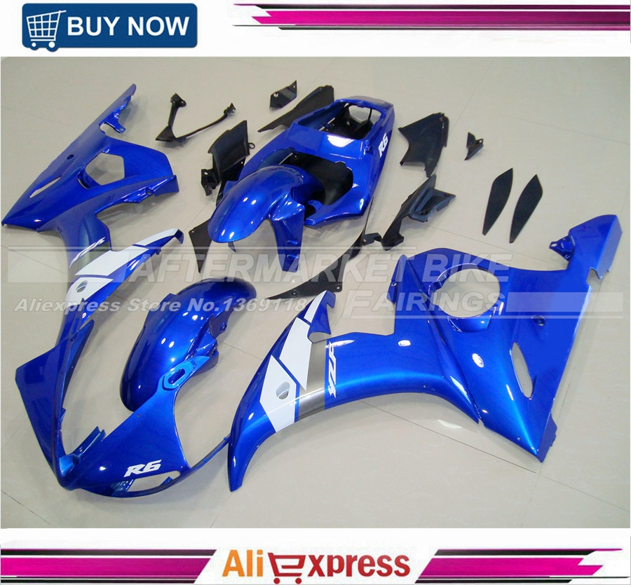 For Yamaha YZF 600 R6 2003 2004 2005 YZF600R ABS Plastic Motorcycle Blue Fairing Kit Bodywork YZFR6 03 04 05 YZF600R6 YZF 600R