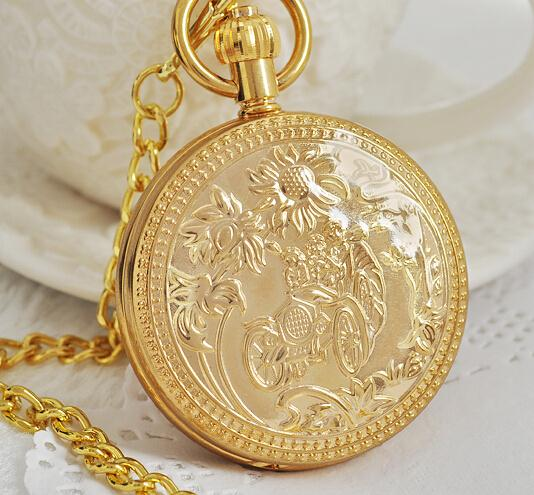 Copper Roman Numbers Hand Winding Women Mens Mechanical Pocket Watch with Chain Pendant Necklace PJX1033 shuhang rose cooper mechanical hand winding pocket watch octagon shape roman number skeleton clock pendant with chain best gift