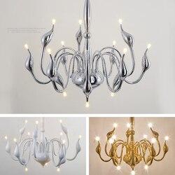 Nowoczesne żyrandole Swan lampy sztuka nordycka nabłyszczania żyrandol oświetlenie do sypialni salon oświetlenie led do pokoju dekoracja wnętrz Lampadario