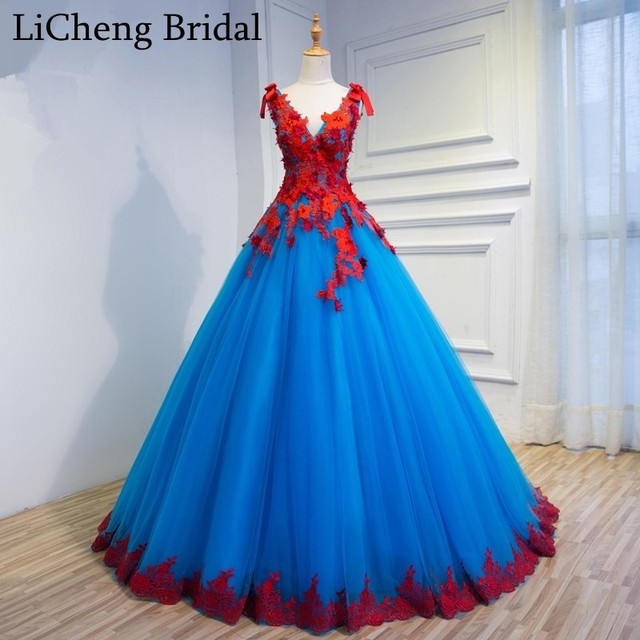 Romantic Red Blue floral Appliques beadings
