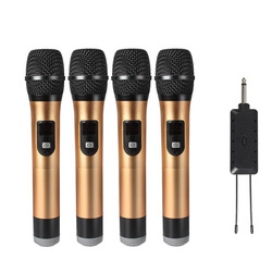 JIY Universal four Wireless Microphone Profession mixer audio dynamic Head-mounted Microphones for karaoke stage teacher meeting