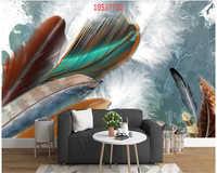 Beibehang Angepasst moderne minimalistischen hand-painted farbige federn geometrische hintergrund wand dekoration tapete behang