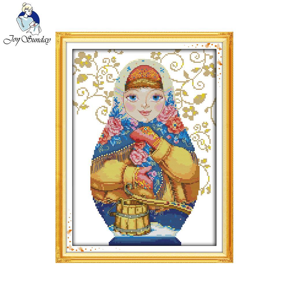 Joy sunday cross stitch russian doll painting counted