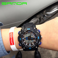 Moda masculina esporte militar relógios de pulso 2016 new sanda relógios homens marca de luxo 3atm 30 m dive led digital analógico quartz relógios