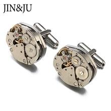 JIN&JU Jewelry Hot Sale Watch Movement Cufflinks Of Immovable Steampunk Gear Watch Mechanism Cuff Links For Mens Gemelos