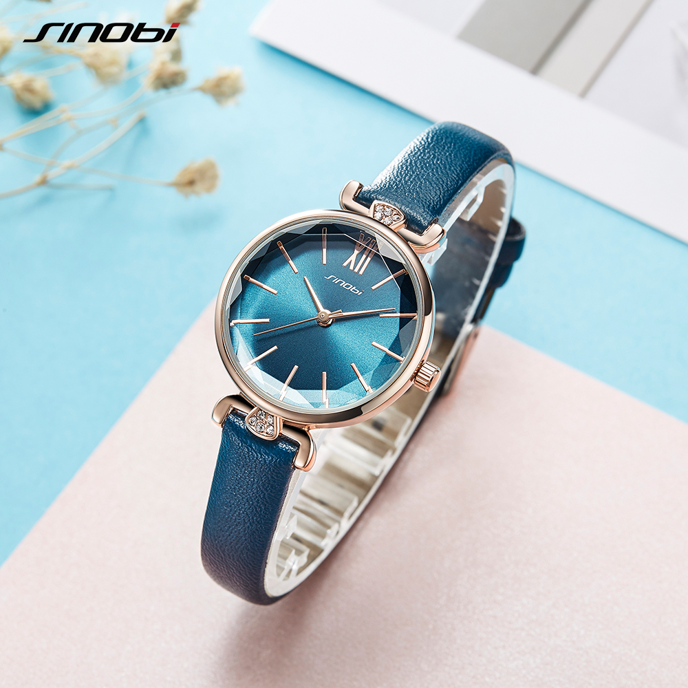 SINOBI New Fashion Women Watch Luxury Diamond Thin Green Leather Watch Japanese Quartz Wristwatch Ladies Watch Gift Montre Femme