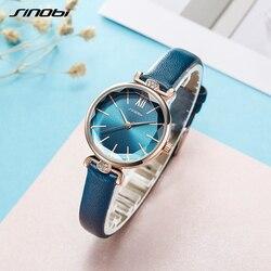 Sinobi nova moda feminina relógio de luxo diamante fino verde relógio de couro japonês quartzo relógio de pulso senhoras presente montre femme