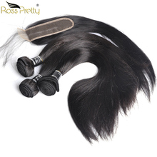 Ross Pretty Remy Hair Long Middle Part lace Closure with Bundles Peruvian Human bundles Pre Plucking 2*6