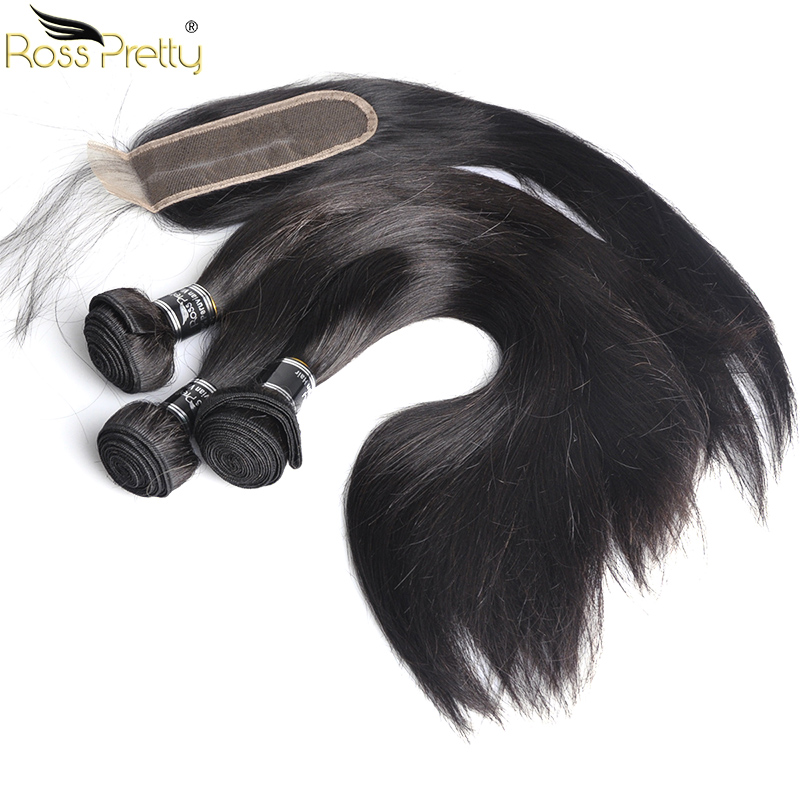 Ross Pretty Remy Hair Long Middle Part lace Closure with Bundles Peruvian Human Hair bundles with Closure Hair Pre Plucking 2*6