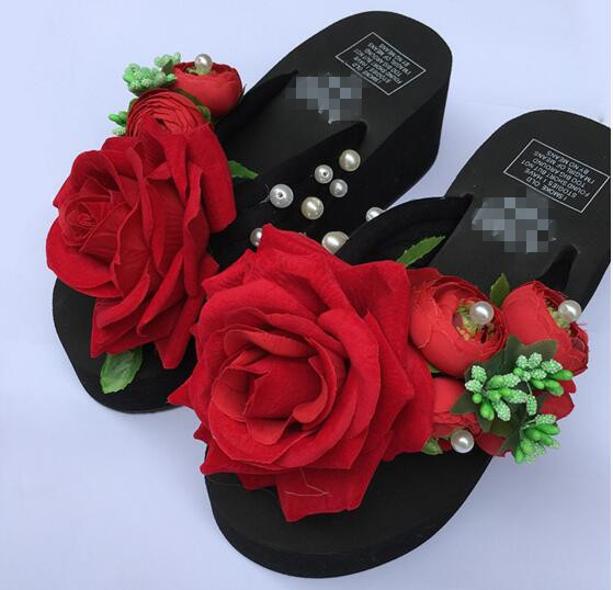 b6c76bb2b80647 Red roses flip-flops female thick soles slippers antiskid beach resort cool slippers  shoes wedges flowers