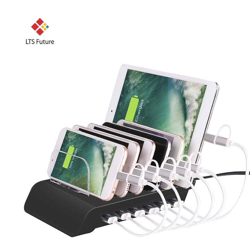 Быстрая многопортовая зарядная док станция, 6 портов USB Настольная зарядная станция, адаптер питания для всех телефонов, планшетов, часов и т. д.