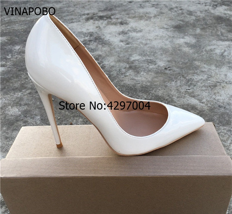 Vinapobo Sexy White Pointed Toe Shoes Stiletto Heels Shallow Cut Slip on Dress wedding Shose Gladiator