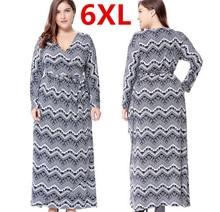 Hot Plus Size 6XL Long Maxi Women Autumn Dresses Deep V Vintage Dress Boho Robe Femme