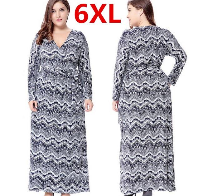 Hot Plus Size 6XL Long Maxi Women Autumn Dresses Deep V Vintage Dress Boho font b