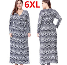 Hot Plus Taille 6XL Longue Maxi Femmes Automne Robes Profonde-V Vintage robe Boho Robe Femme Robes Verano Femmes Grand Grande Taille 6XL