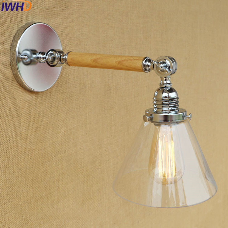 IWHD Wandlamp Retro Loft Wall Lamp Led Vintage Glass Swing Arm Wall Sconce Edison Bulb Light Fixtures Luminaire Lighting Stairs vintage glass wall lamp light modern sconce fixtures lighting free retro bulb bedroom