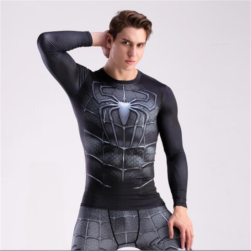 2017 brand men marvel superhero t shirt punisher long sleeve t shirts fitness superman 3d shirts compression shirt tights male-2