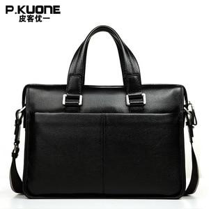 """Image 2 - Brand Design 15.6"""" Laptop Bag Natural Cowskin Mens Business Briefcase Fashion Genuine Leather Shoulder Messenger Bags"""