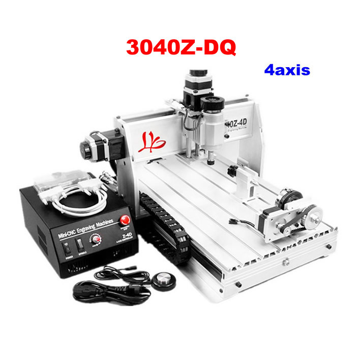 3040Z-DQ 4axis CNC engraving machine with more precise ball screw tool auto-checking instrument 4th rotation axis for 3d cnc cnc 3040z dq 3 aixs with ball screw engraving machine
