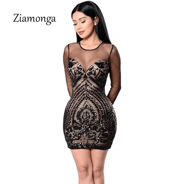 bcf8816aa1d61 Ziamonga Women Autumn Winter Bling Sequin Bodycon Dress Sexy Floral Retro  O-Neck Long Sleeve